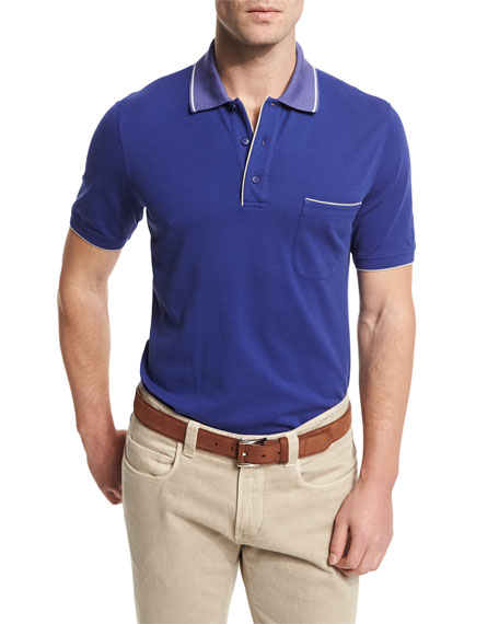 Loro Piana Regatta Short-Sleeve Pique Polo Shirt, Blue