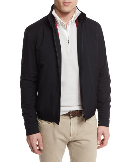 Loro Piana Roadster Pebble Beach Zip-Up Jacket, Blue