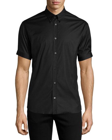 Alexander McQueen Short-Sleeve Button-Down Shirt, Black