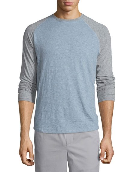 Vince Raglan-Sleeve Baseball Shirt, Heathered Denim/Steel
