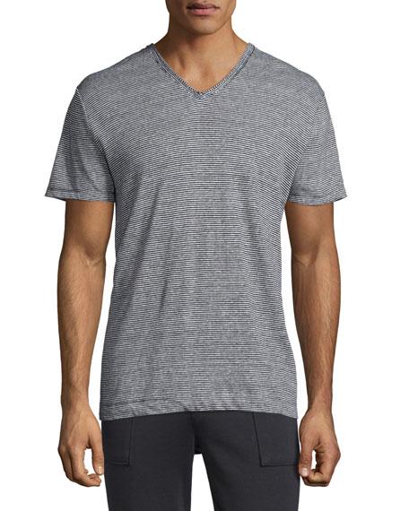 Vince Feeder-Stripe V-Neck Linen T-Shirt, Black/White