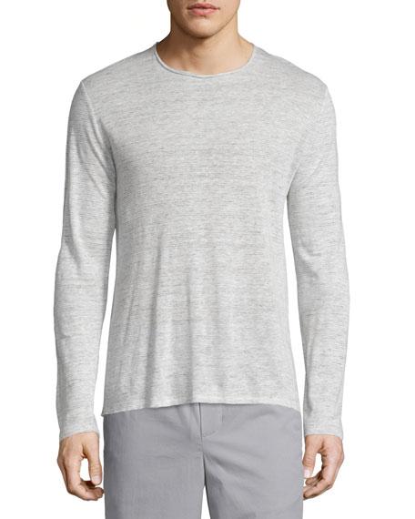 Feeder-Stripe Long-Sleeve Linen Shirt, Steel/White