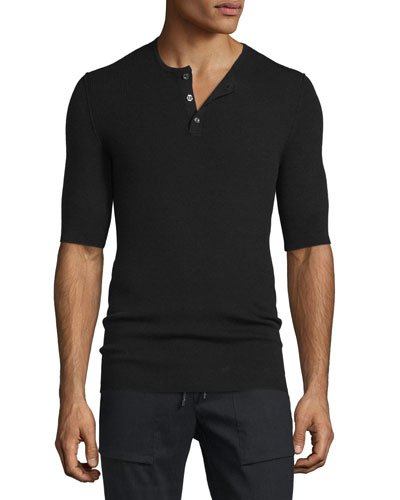 Ribbed Short-Sleeve Wool-Silk Henley Shirt, Black