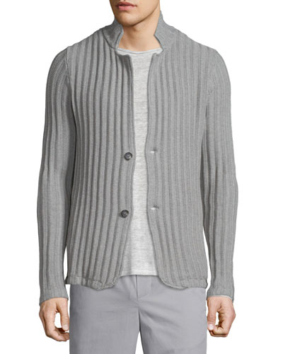 Ribbed Button-Down Cardigan, Steel
