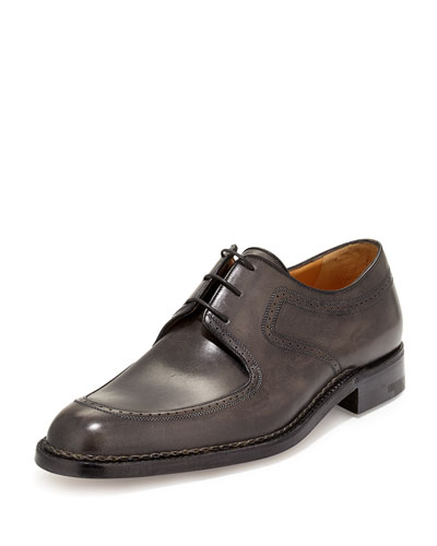 Amedeo Testoni Washed Leather Oxford, Black