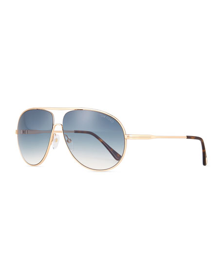 TOM FORD Cliff Shiny Aviator Sunglasses, Rose Gold