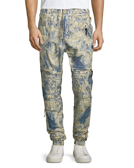 PRPS Dyed Moto Jogger Pants, Blue/Yellow