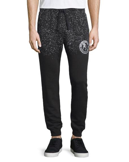 PRPS Speckled Logo-Patch Sweatpants, Black/White