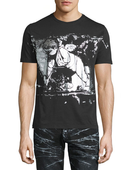 PRPS Metallic Angel-Graphic Short-Sleeve T-Shirt, Black Pattern