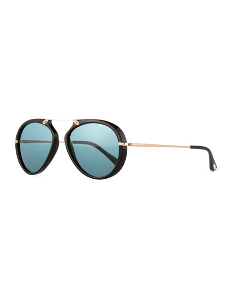 TOM FORD Aaron Trimmed Aviator Sunglasses, Black