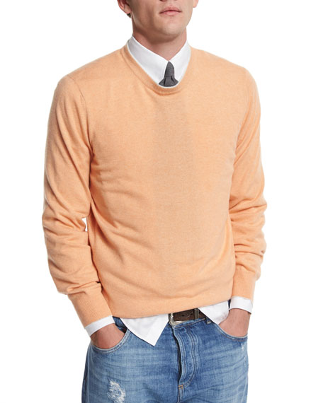 Brunello Cucinelli Tipped Crewneck Cashmere Sweater, Mango/Fog