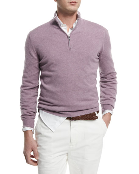Brunello Cucinelli Cashmere Half-Zip Pullover Sweater, Fog