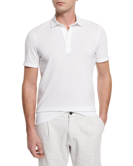 Brunello Cucinelli Solid Short-Sleeve Polo Shirt, White