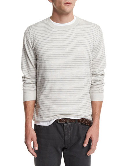 Brunello Cucinelli Striped Long-Sleeve Cashmere Tee, Fog/Mid Gray