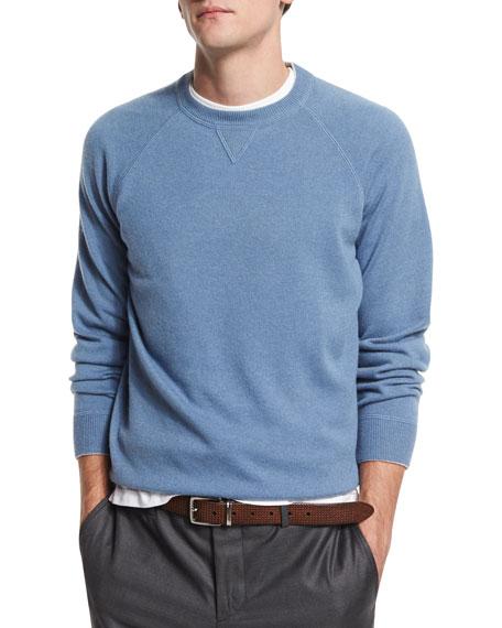 Brunello Cucinelli Solomeo Fine Gauge Cashmere-Blend Crewneck Sweatshirt, ...