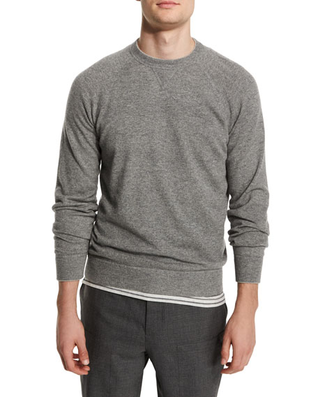Brunello Cucinelli Solomeo Cashmere-Blend Crewneck Sweater, Medium Gray/Dove
