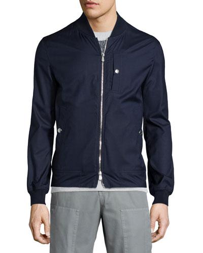 Wool-Blend Zip Bomber Jacket, Ocean