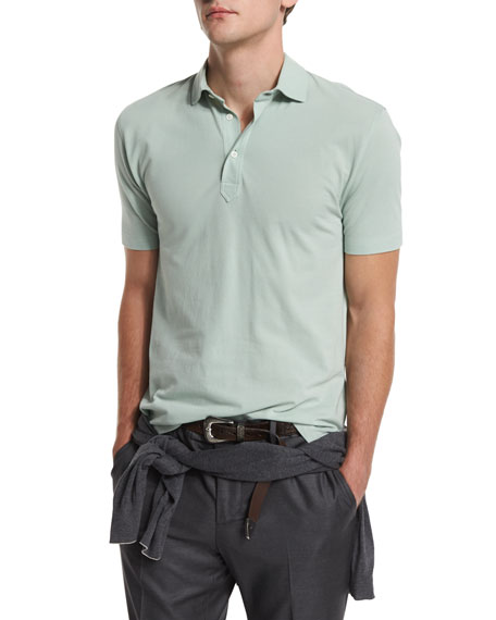 Brunello Cucinelli Short-Sleeve Pique Polo Shirt, Green Tea