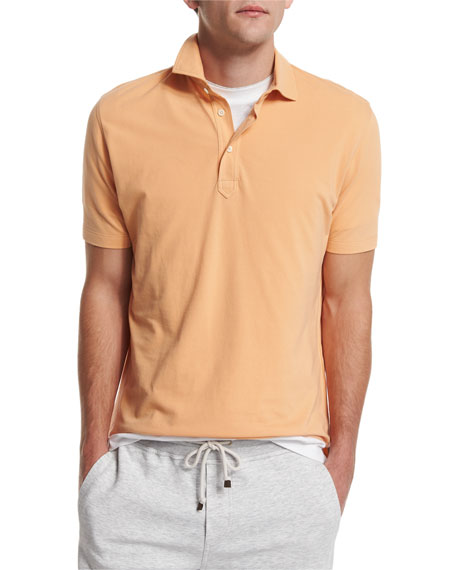 Brunello Cucinelli Short-Sleeve Pique Polo Shirt, Peach