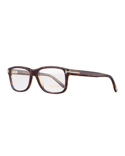 Shiny Acetate Dark Havana Fashion Glasses, Transparent