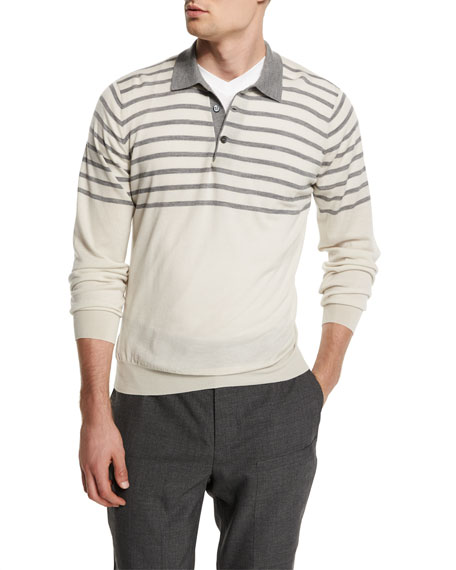 Brunello Cucinelli Striped Wool/Cashmere Polo Sweater, White/Mid