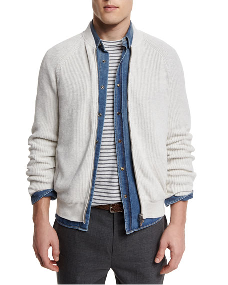 Brunello Cucinelli Ribbed Knit Full-Zip Cardigan, Marble/Dove