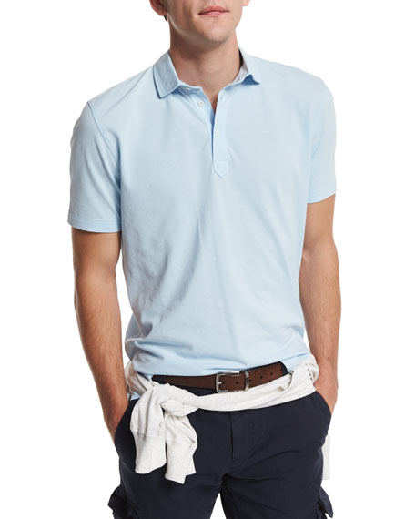 Brunello Cucinelli Short-Sleeve Pique Polo Shirt, Powder Blue