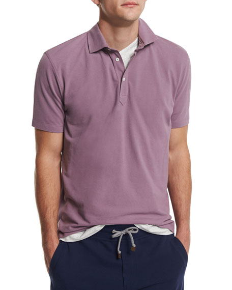 Brunello Cucinelli Short-Sleeve Pique Polo Shirt, Blueberry