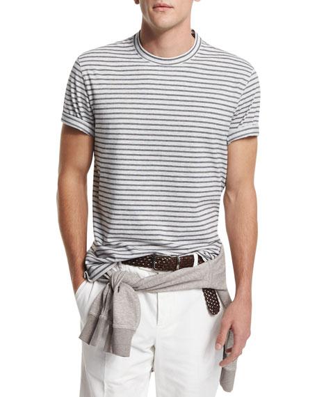 Brunello Cucinelli Striped Crewneck Short-Sleeve T-Shirt, Fog/Navy