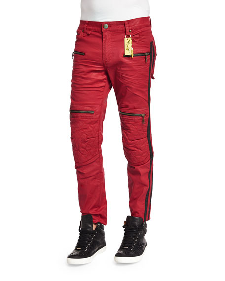 Robin's Jean Red Racer Quilted-Knee Moto Jeans, Red