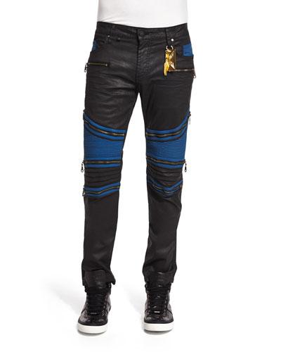 Racer Contrast-Panel Coated Moto Jeans, Black