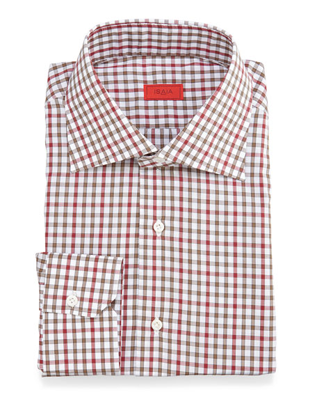 Isaia Check Woven Dress Shirt, Red/Olive