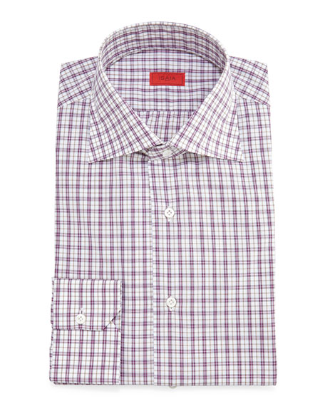 Isaia Check Long-Sleeve Dress Shirt, Plum/Olive