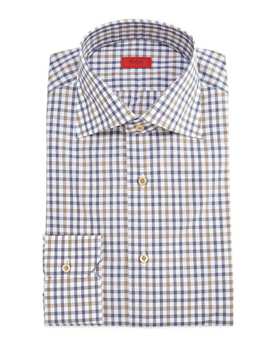 Check Woven Dress Shirt, Brown/Blue