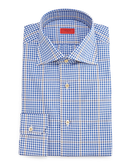 Isaia Gingham-Windowpane Dress Shirt, Blue