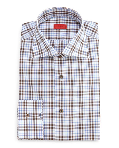 Box-Check Dress Shirt, Camel/Gray