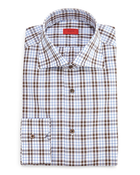 Isaia Box-Check Dress Shirt, Camel/Gray