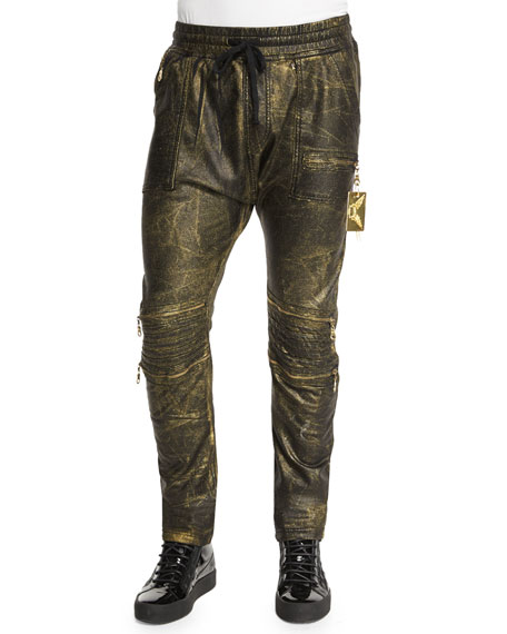 Robin's Jean Motard Gold-Coated Jogger Jeans, Gold