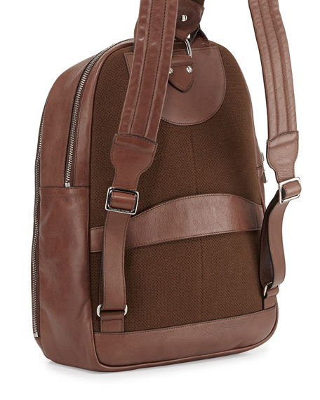 Men's Calf Leather Backpack, Brown