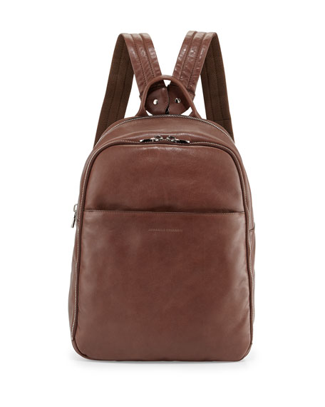 Brunello Cucinelli Men's Calf Leather Backpack, Brown