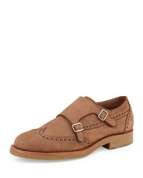 Brunello Cucinelli Leather Monk-Strap Wing-Tip Loafer, Beige