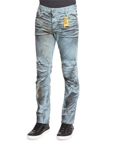 Motard Wax-Coated Jeans, Dark Brown