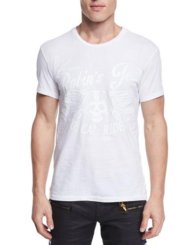 Tonal Skull-Print Short-Sleeve Tee, White