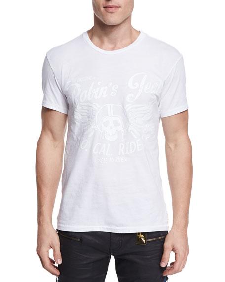 Robin's Jean Tonal Skull-Print Short-Sleeve T-Shirt, White