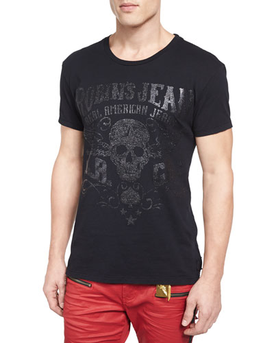 Sequin Skull-Print Short-Sleeve Tee, Black
