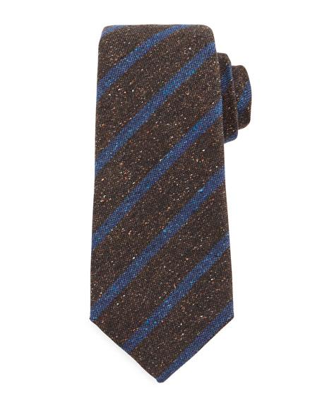 Isaia Textured Rep-Stripe Silk Tie