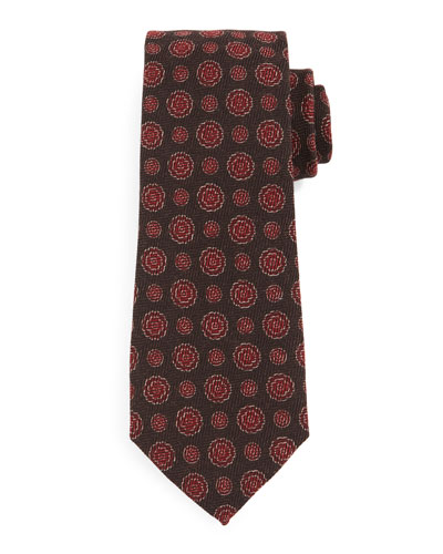 Textured Circle-Medallion Silk Tie, Brown