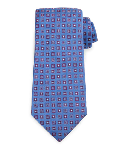 Diamond-Medallion Silk Tie, Blue