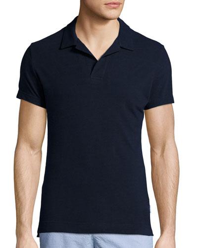 Felix Slim-Fit Johnny-Collar Polo Shirt, Navy