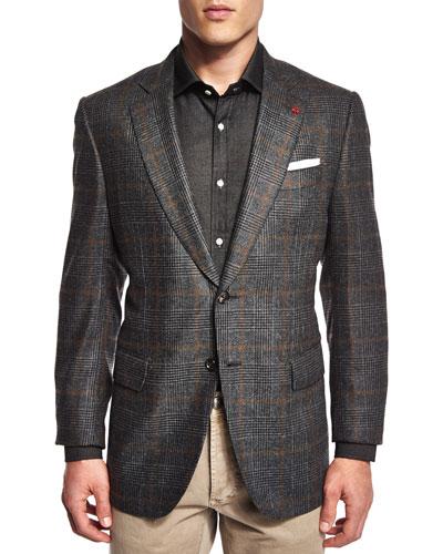 Plaid-Windowpane Two-Button Jacket, Gray